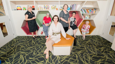 From left: Canberra Mothercraft Society board members Jane Smyth and Lynne Johnson,President Fiona Smith du Toit,hospital director Mary Kirk, and board members Viola Kalakerinos anad Wendy Saclier.