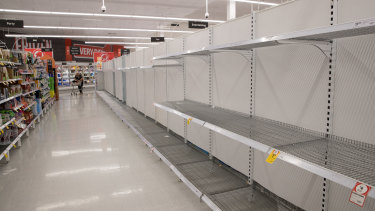 Empty toilet paper shelves in Coles, Wetherill Park, Sydney. 5th March 2020