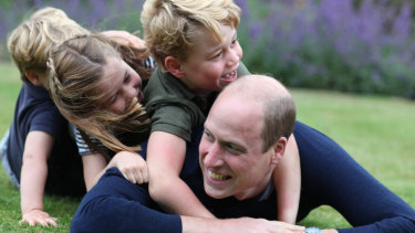 Prince William (right) plays with (from left) Prince Louis, Princess Charlotte and Prince George to mark both his birthday and Fathers Day.