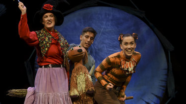 Cally Castell, Ryan Dulieu and Katie Burson in Room on the Broom.