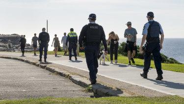 Police patrol Maroubra Beach on Easter Sunday.