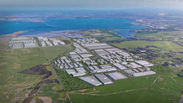 An aerial view ofMAB Corporation's proposed $3.3 billion industrial estate next to Avalon Airport.