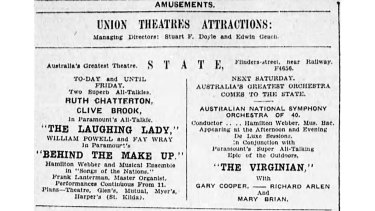 Theatre ads published in The Age, Saturday May 23rd, 1930. Of the twelve films screening in Melbourne, eleven were American and one British.