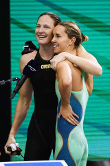Cate Campbell and Emma McKeon after their hard-fought race.