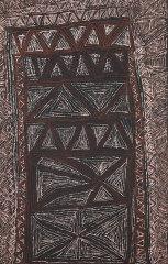 Cornelia Tipuamantumirri, Jilamara design, 2013, (detail) earth pigments on canvas, NGV.