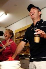 John Woodman behind the counter at the Braidwood Bakery