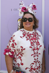 Gina Rinehart arrives at the Birdcage at Flemington Racecourse on Tuesday.