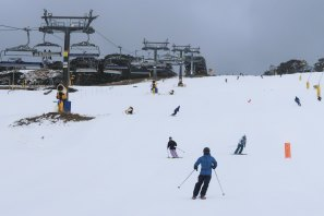 Opening day of the winter season at Perisher on Friday.