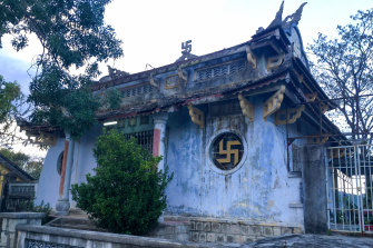 A Buddhist temple in Nha Trang, Vietnam. The walls and roof are decorated with the Sanskrit swastika.