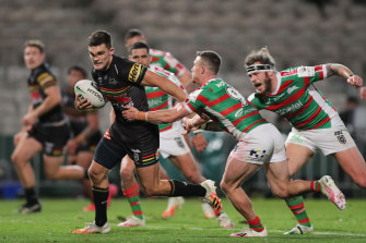 Catch me if you can ... Nathan Cleary on the fly against Souths.