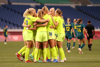 Sweden celebrate one of their four goals.