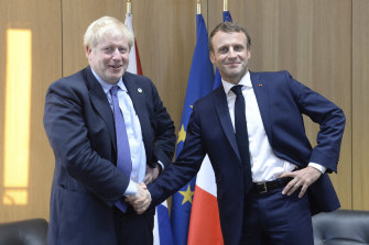 Johnson and Macron at last week's EU summit meeting in Brussels.