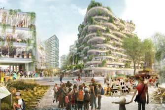 An artist's impression of a future Macquarie Park, which would become more suited to pedestrians if plans are realised.