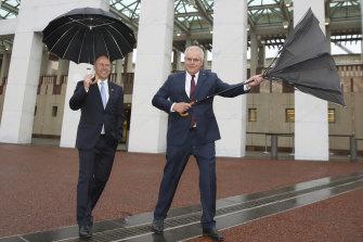 Treasurer Josh Frydenberg and Prime Minister Scott Morrison after delivering the budget in October.