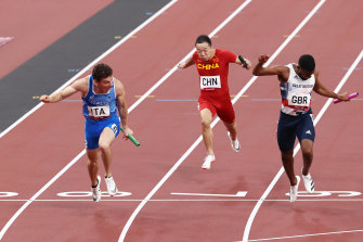 Filippo Tortu's lunge to the line pipped Great Britain's Nethaneel Mitchell-Blake.