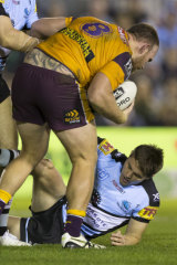 Lucky escape: Matt Lodge has a word with Kyle Flanagan after the incident at Shark Park last Sunday.