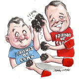 Craig Kelly and Joel Fitzgibbon have had plenty of interest in their parliamentary Friends of Coal Exports group. Illustration: John Shakespeare