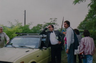 Laszlo Nagy at the border between Hungary and Austria in 1989.