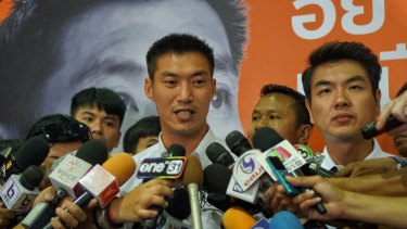 Thanathorn Juangroongruangkit, leader of Future Forward party, addresses the media.