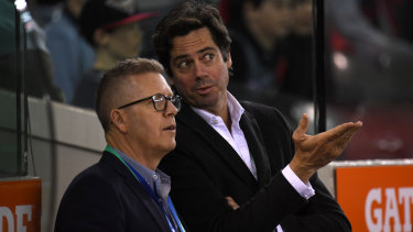 AFL boss Gillon McLachlan and Steve Hocking (left) are confident the nine rule changes will have a positive effect.