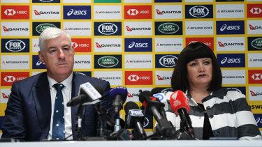 Under the pump: Rugby Australia chairman Cameron Clyne and chief executive Raelene Castle.