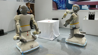 P-Care, a service-oriented robot designed by Chinese company Funing Robotics.