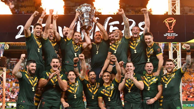 Question marks: Australia celebrate winning the 2017 Rugby League World Cup final.