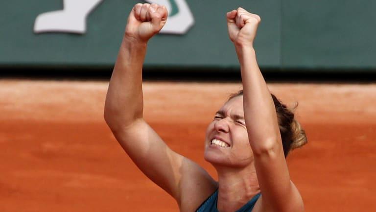 The emotion: Simona Halep after match point.