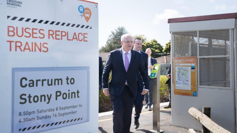 Prime Minister Scott Morrison visits Leawarra Railway Station. and State Opposition leader Matthew Guy.