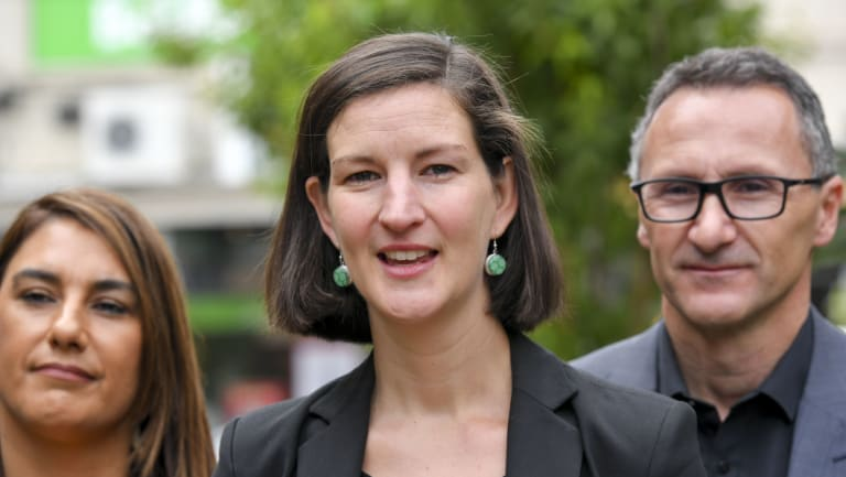 Melbourne MP Ellen Sandell, centre, with Northcote MP Lidia Thorpe and federal Greens leader Richard Di Natale.