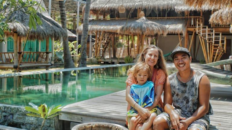Belinda Miller and husband Resa Pratoni, with son Keanu, in Gili Air.