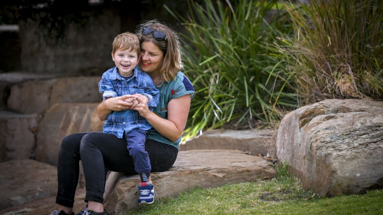 Amy Clarke and son Louis Evans.