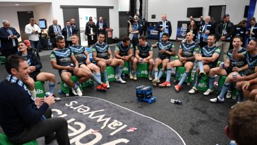 Caring touch: Relaxed as ever, Brad Fittler addresses his triumphant Blues in Perth.