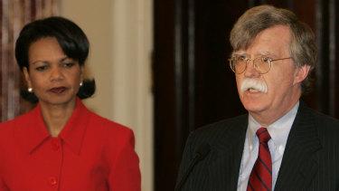 UN ambassador John Bolton with then secretary of state Condoleezza Rice in 2005.