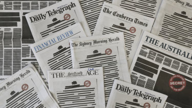 The front pages of Australian newspapers for the Your Right to Know campaign.