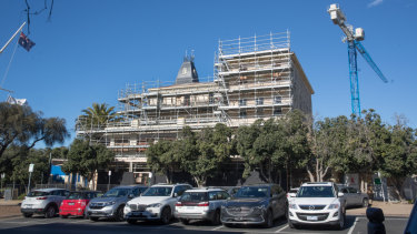 Work halted on the Continental Hotel in May.