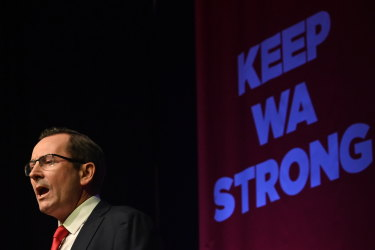 WA Premier Mark McGowan speaking at his campaign launch.