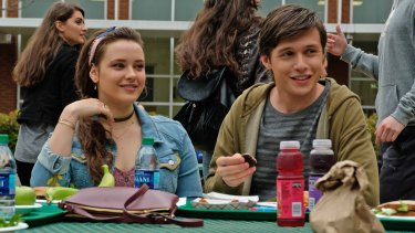 Katherine Langford (Leah) and Nick Robinson (Simon) in a scene from the film Love, Simon.