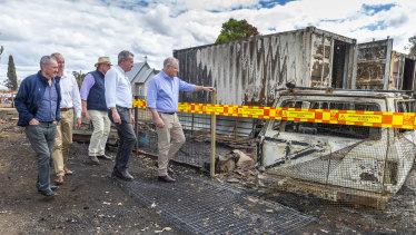 Prime Minister Scott Morrison(right) visits fire affected Rappville