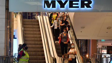 Shares in Myer are defying a wider market drop on Tuesday.