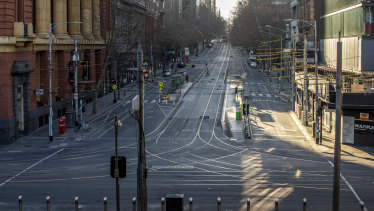 Melbourne's Bourke Street, empty in August 2020, shows the vulnerability of CBDs in the pandemic.