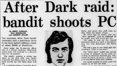 <i>The Age</i>'s report on the 1979 Heathcote robbery.