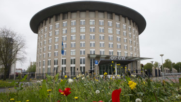 Headquarters of the Organisation for the Prohibition of Chemical Weapons, OPCW, in The Hague, Netherlands.