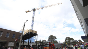 The crane that dropped the load of concrete.