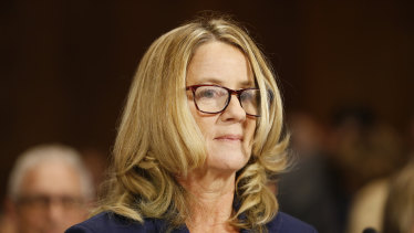 Christine Blasey Ford arrives for a Senate judiciary committee hearing in Washington.