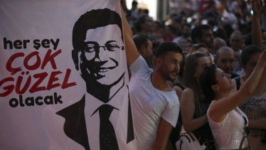 Supporters of Ekrem Imamoglu, who extended his margin in the re-vote.