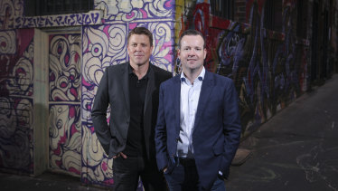 Aconex co-founders Rob Phillpot and Leigh Jasper after selling their business to Oracle.