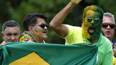 A supporter of Brazilian President Jair Bolsonaro, face painted in the colours of the Brazilian flag, celebrates after the new party's creation.