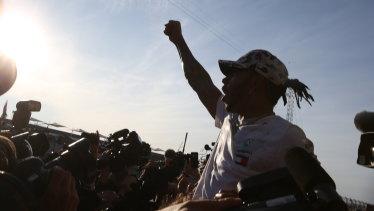 Lewis Hamilton celebrates his sixth world championship.