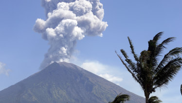 Last month Mount Agung spews ash and smoke in Karangasem, Bali.